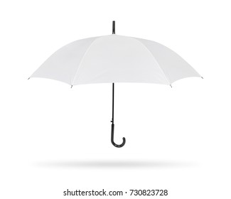 Blank umbrella isolated on white background. Portable parasol for protection sun and rain. Clipping paths object.