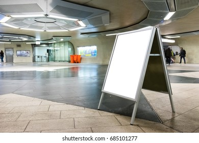 Blank Underground Subway Advertisement Empty Space Indoors Interior Cafe Folding Sign