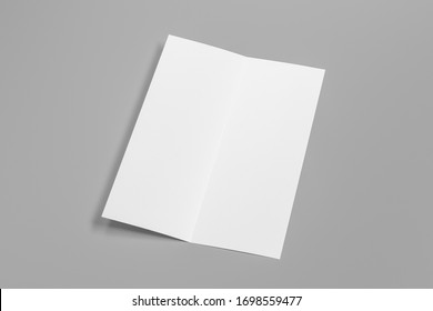 Blank vertical A4 leaflet on gray background. Bi-fold or half-fold opened brochure isolated with clipping path. Side view. 3d illustration