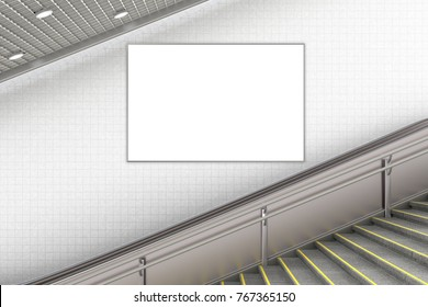 Blank vertical advertising poster on wall of underground escalator. 3d illustration