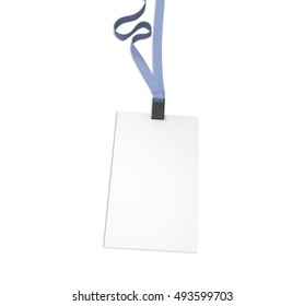 Blank vertical bagde with grey ribbon, isolated on white. Mockup, 3D illustration.