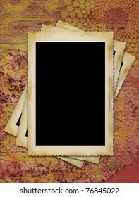 blank vintage photographic picture frames, large border,grungy background