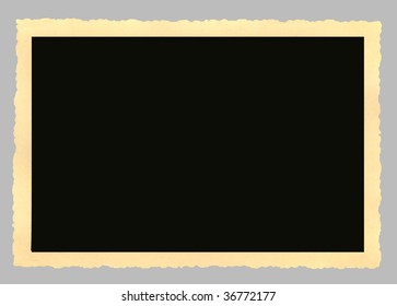 Blank vintage picture frame,deckle edged, large format,isolated on grey background,clipping path