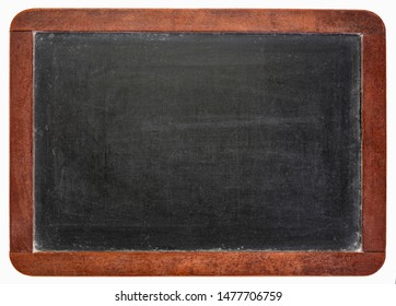 blank vintage slate blackboard with chalk smudges isolated on white