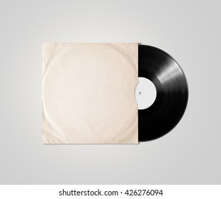 Blank vinyl album cover sleeve mockup, isolated, clipping path. Gramophone music plate clear surface mock up. Paper sound shellac disc label template. Vintage old grunge cardboard vinyl disk package