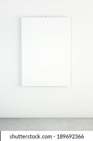 Blank wall calendar with spring in interior