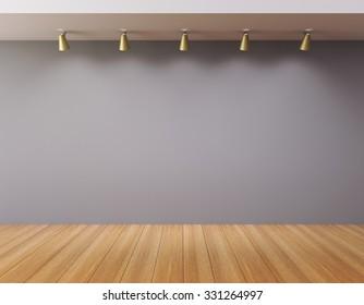Blank wall in an empty gallery 3D Render
