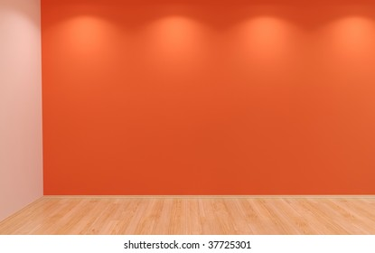Blank Wall and empty room with lights and hardwood parquet