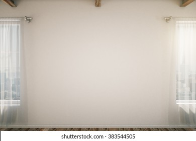 Blank wall in a loft interior with windows, mock up, 3d render