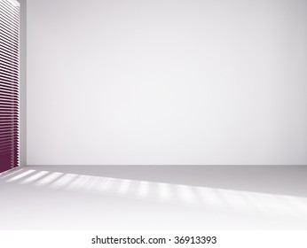Blank wall with window and red curtain