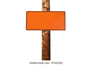 Blank warning construction sin on wooden electric pole isolated on white background