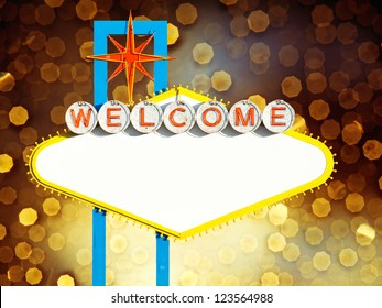 Blank Welcome To Las Vegas neon sign on yellow background