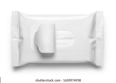 Blank wet wipes flow pack, isolated on white background