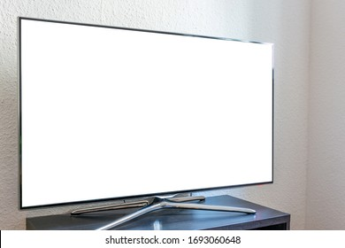 Blank white ad space on a TV in living room