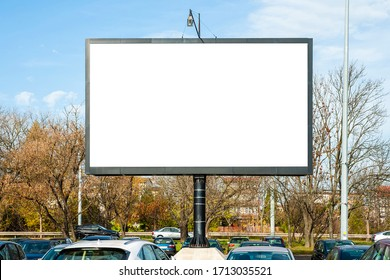 Blank white advertising display device on the car park