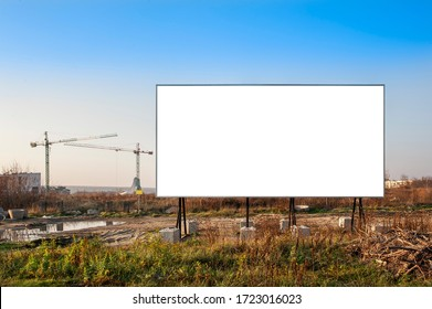 Blank white advgertising billboards on the construction site