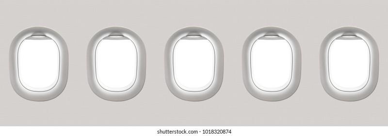 Blank white airplane windows - flight concept