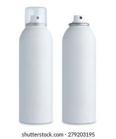 Blank white aluminum spray can, with cap and without, closed and open, isolated on white background