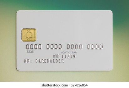Blank white bank credit card on colorful background
