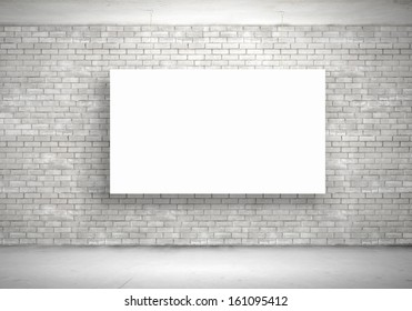 Blank white banner hanging on wall. Place for text