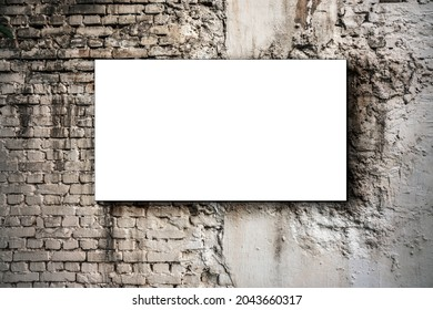 Blank white banner with mock up fixed on old brick wall outdoor. Promotion and advertising concept.