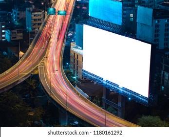 blank white bilboard on blue sky background