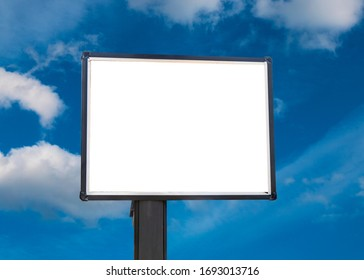 Blank white billboard for advertisement. Blue sky background. Put your own text here