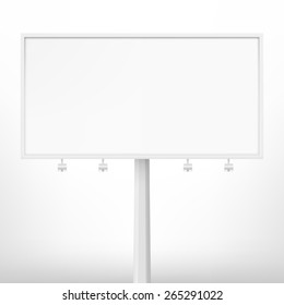 Blank white billboard,  illustration. Template for your design.
