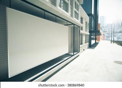 Blank white billboard instead showcase on the building, mock up 3D Render