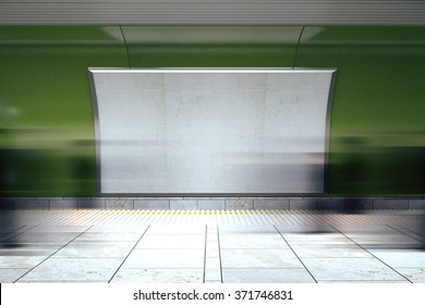 Blank white billboard on green wall in the subway with mooving people, mock up 3D Render