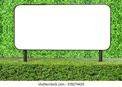blank white billboard on green leaves