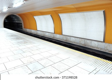 Blank white billboards in empty subway station, mock up 3D Render