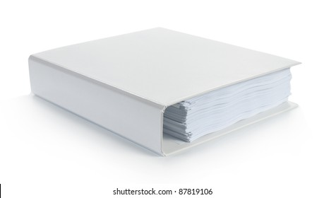 Blank white binder isolated on white