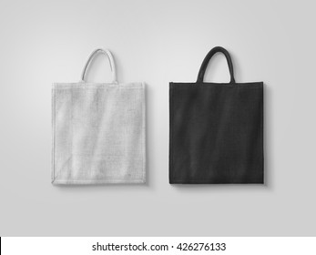 Blank white and black cotton eco bag design mockup isolated, clipping path. Textile cloth customer bag mock up template. Tote shoe consumer reusable organic craft package. Carrier recycle grossery bag