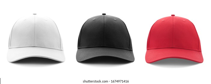 Blank white, black and red baseball cap mockup template isolated on white, clipping path. Set