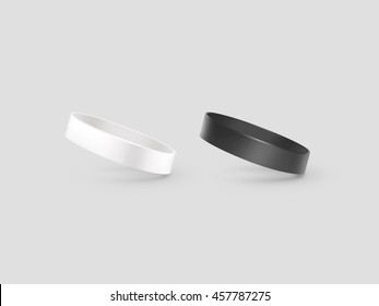 blank white and black rubber wristband mockup clipping path 3d illustration clear sweat