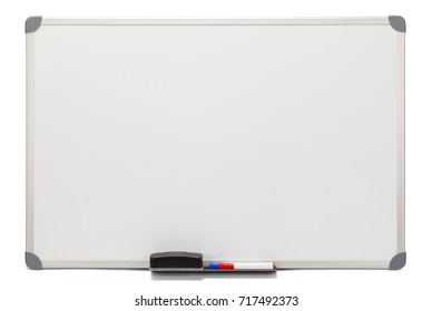 Blank White Board Isolated on White Background.