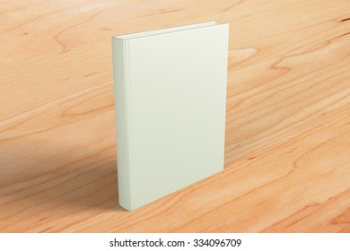 Blank white book cover on brown wooden floor, mock up 3D Render