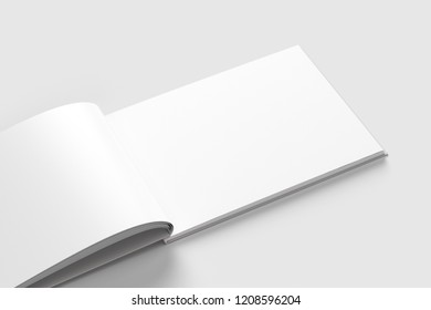 Blank white book Mock-up isolated on soft gray background. Open and closed, isolated with clipping path. 3d illustration.Horizontal.