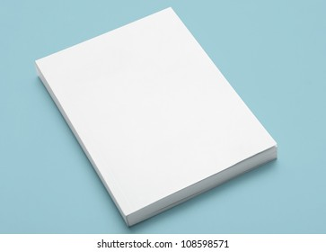Blank White Book on Blue