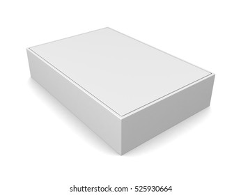 Blank white box isolated on white background. 3d render