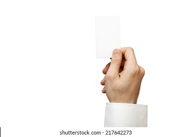 Blank White business card in a hand Man on isolated white background   added clipping path changeable backgorund color and business card color.