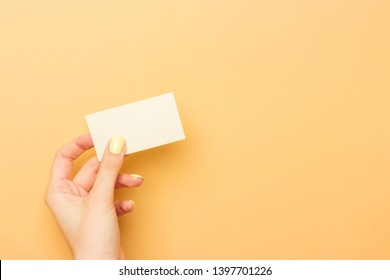 Blank white business card holding in female hand