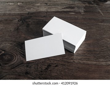 blank white business cards on dark wooden background mock up for branding identity - Blank Business Cards