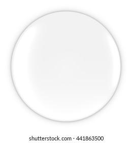 Blank White Button - White Badge 3D Illustration