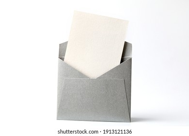 Blank white card with grey envelope template mock up. Greeting card or invitation mailing concept. - Shutterstock ID 1913121136