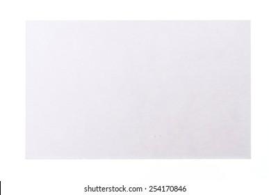Blank white card isolated on white background