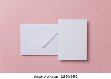 Blank white card with paper envelope template mock up