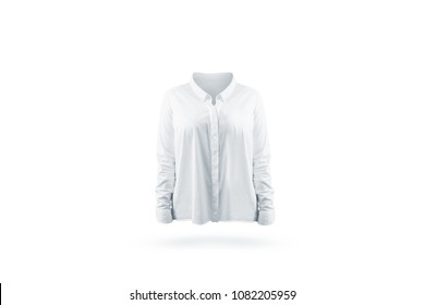 Blank white classic woman shirt mock up front view, isolated. Empty office jacket with long sleeves mockup. Clear casing with collar uniform template