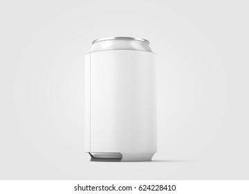 Blank white collapsible beer can koozie mockup isolated, side view, 3d rendering. Empty neoprene cooler holder mock up for tin beverage. Plain drinkware hugger design template. Fizzy pop soda sleeve.